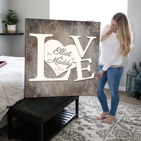 "Personalized ""LOVE - Name on Hearts"" Premium Canvas Wall Art"