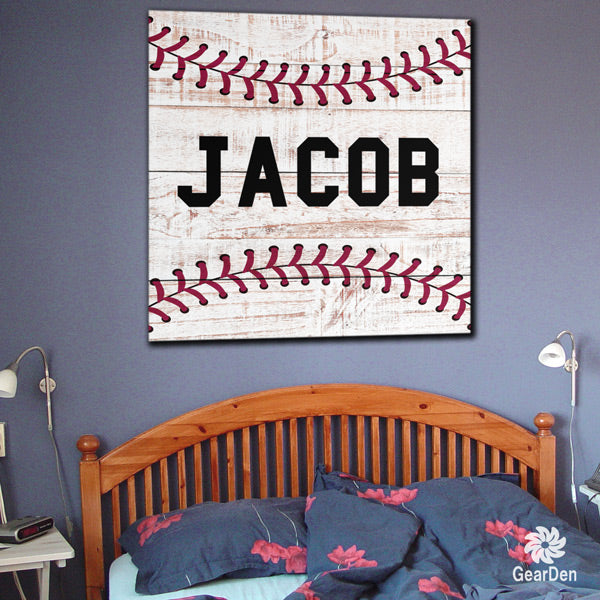 Personalized Baseball Name Canvas Wall Art