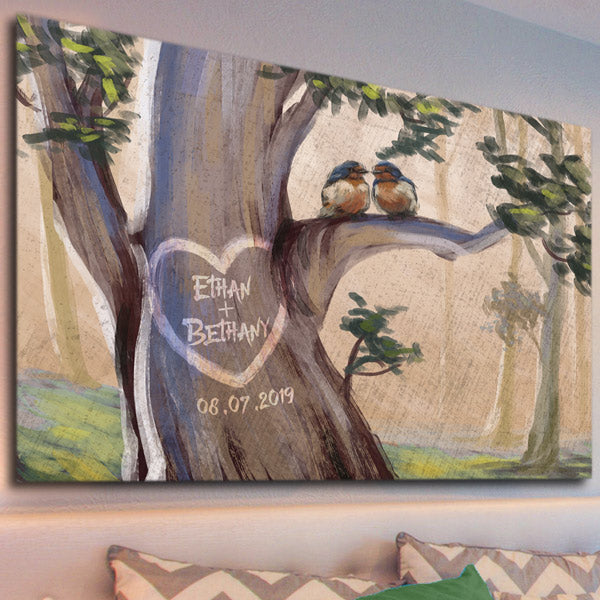 Personalized Couples Canvas Art Watercolor Style Heart - Names On A Tree