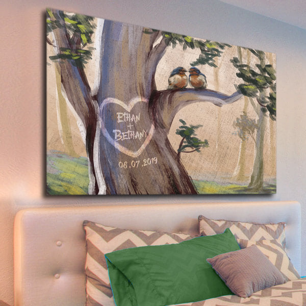 "Personalized ""Birds On A Tree"" Couple/Family Premium Canvas"