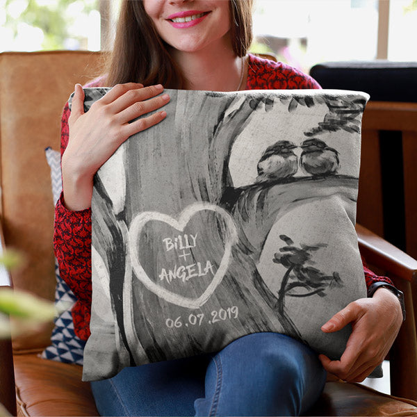 "Personalized Pillow - ""Heart with Names On A Tree"""