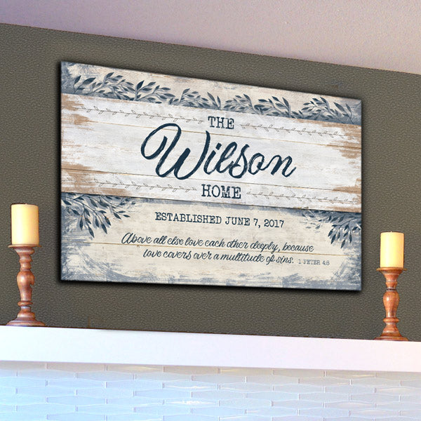 "Personalized Family Home ""Love Each Other Deeply"" Premium Canvas"