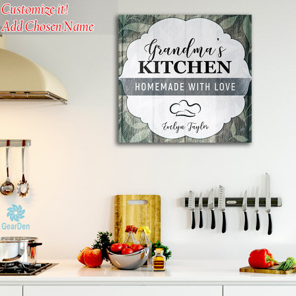 "Personalized ""Grandma's Kitchen - Homemade With Love"" Premium Canvas"