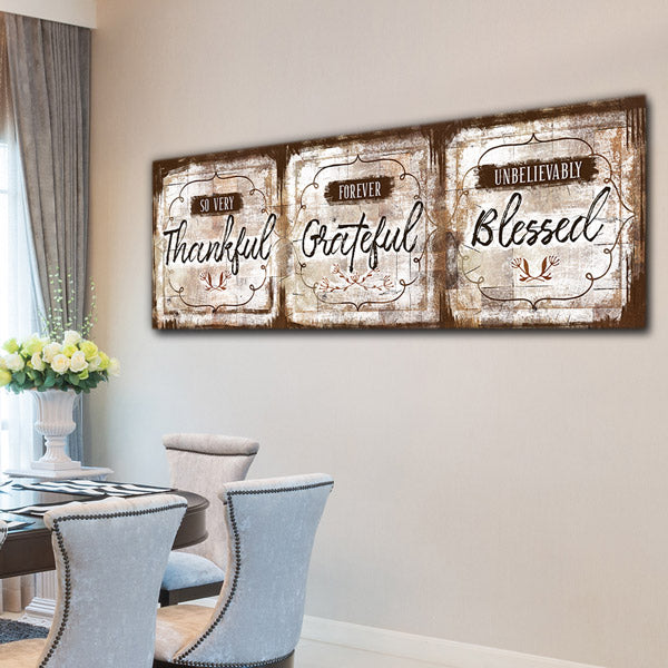 """Thankful, Grateful, Blessed"" Premium Panoramic Canvas"