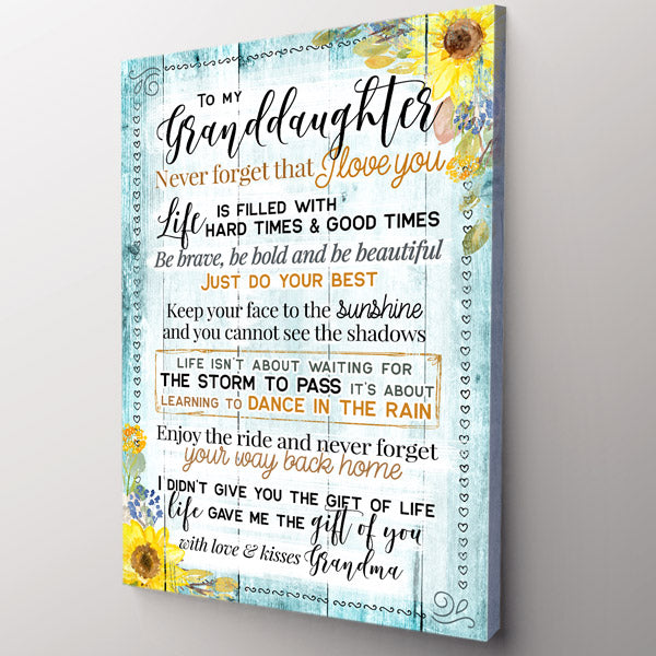 "Personalized ""To My Granddaughter-I Love You"" Premium Canvas Wall Art"
