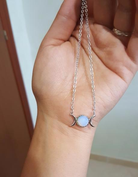 Triple Moon Opal Necklace