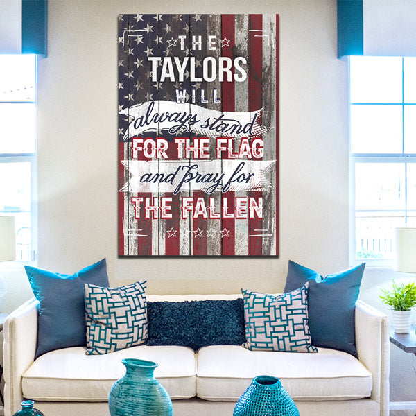 "Personalized ""Stand For the Flag, Pray For The Fallen"" Premium Canvas Wall Art"