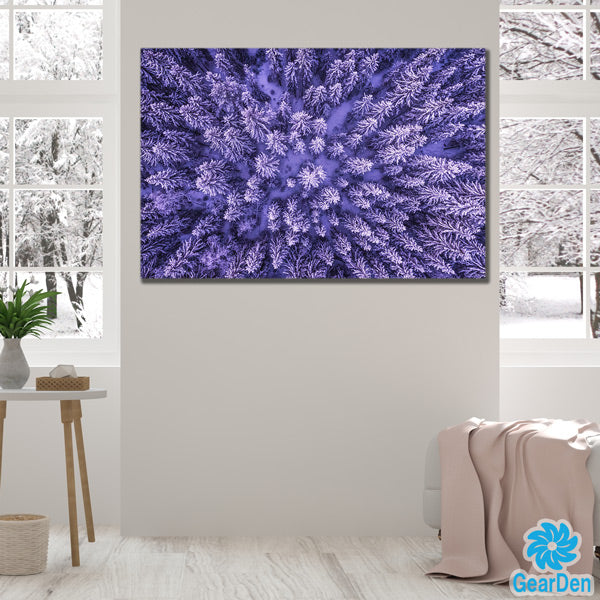 """Frozen Forest Trees"" Premium Canvas"