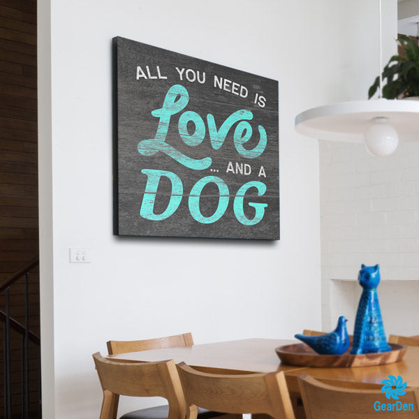 """Love And A Dog"" Premium Canvas"