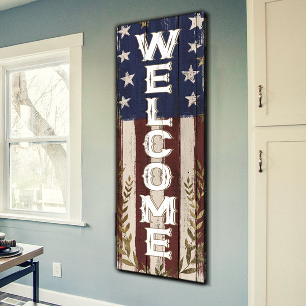 "American Rustic ""Welcome"" Premium Panoramic Canvas"
