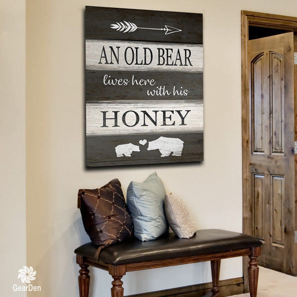 """An Old Bear Lives Here"" Premium Canvas"