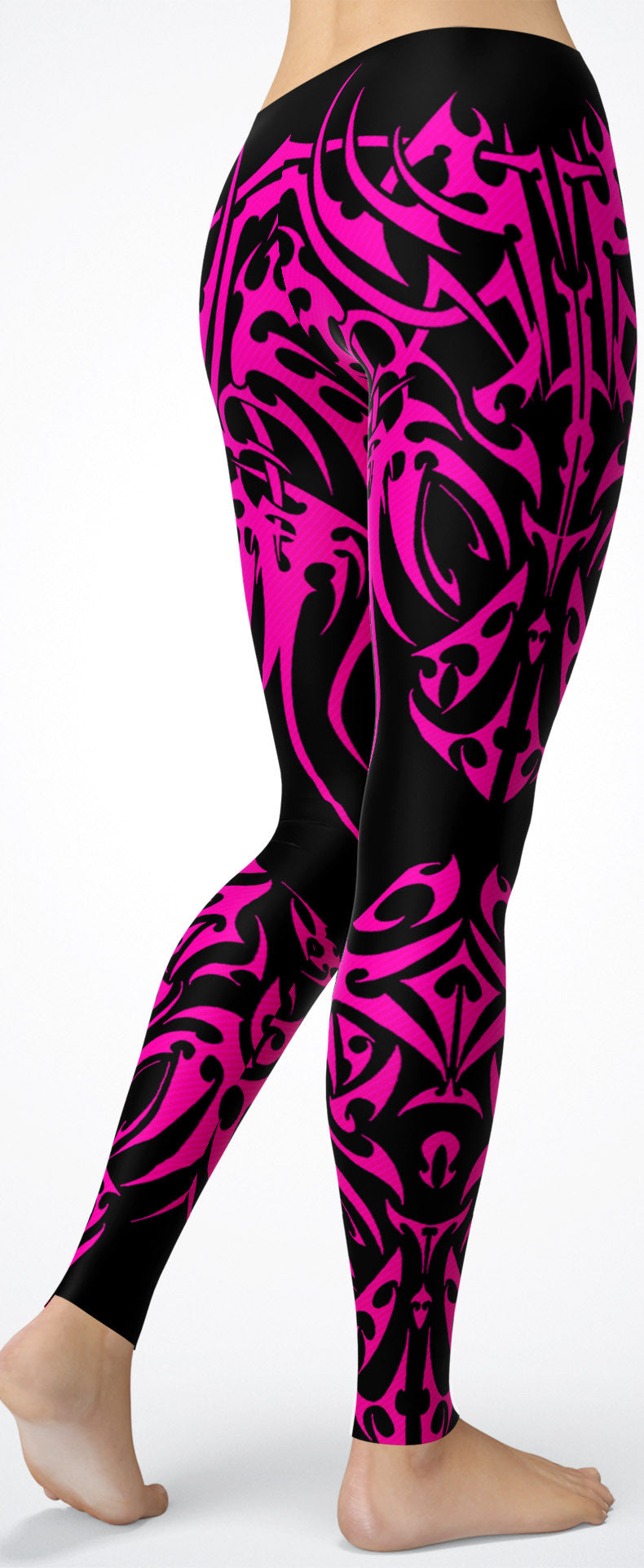 Pink Tribal Tattoo-Pattern Leggings