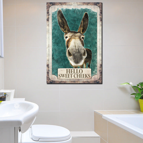 """Hello Sweet Cheeks"" Bathroom Premium Canvas Wall Art"