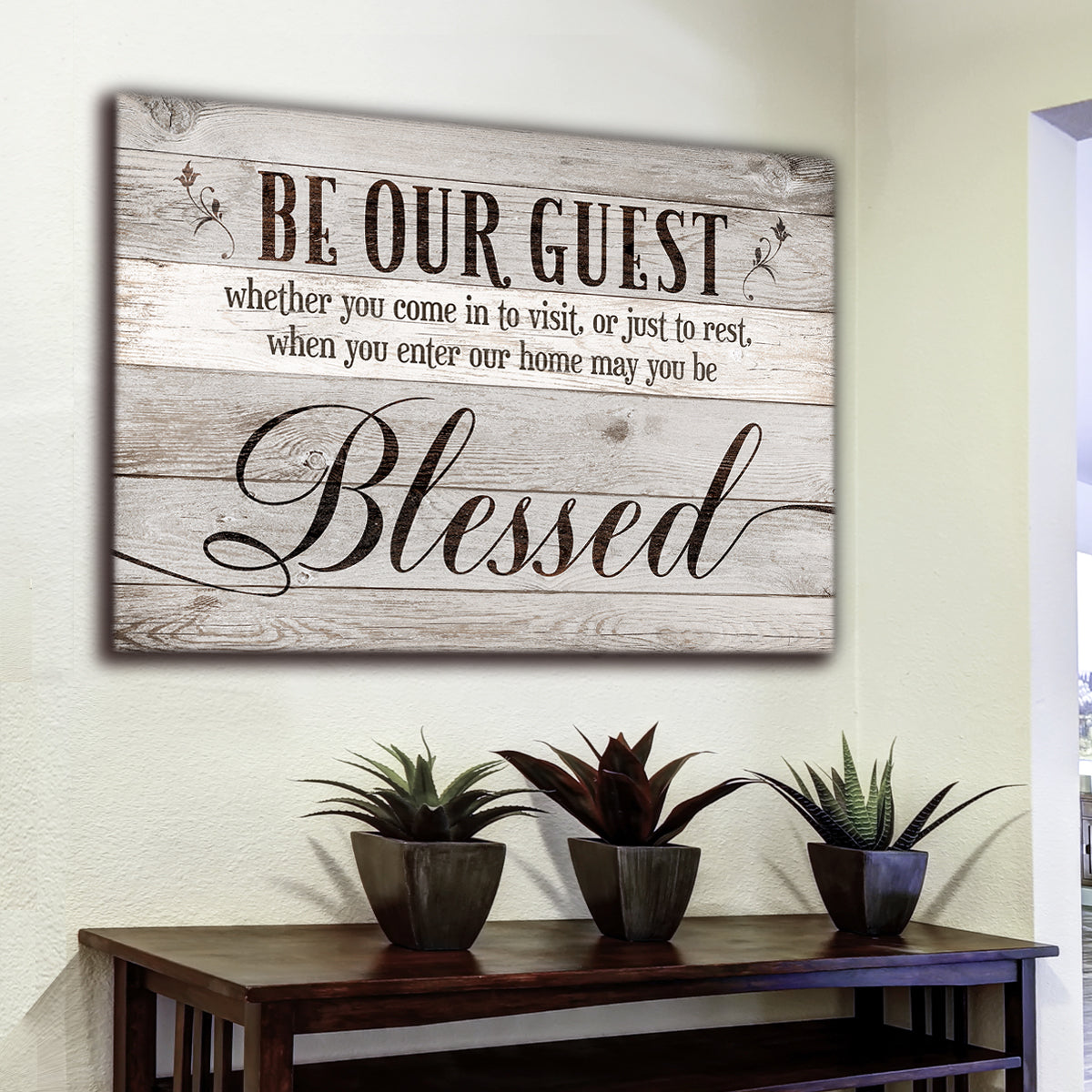 """Be Our Guest - Blessed"" Premium Canvas Wall Art"