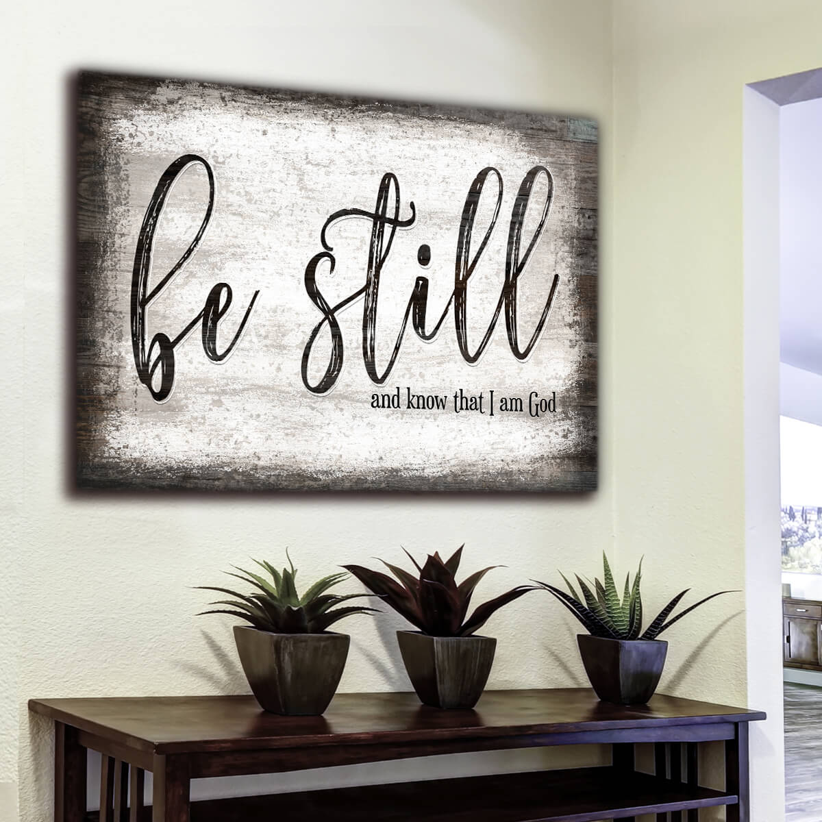 """Be Still And Know That I Am God"" Premium Canvas Wall Art"