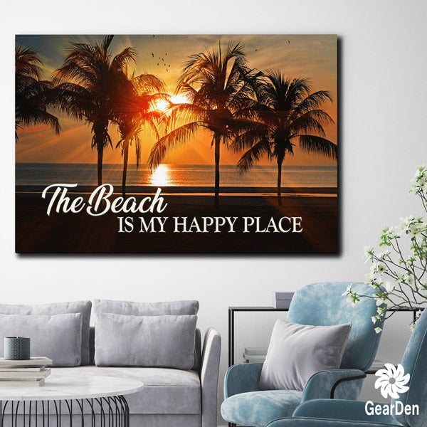"""The Beach - My Happy Place "" Premium Canvas"