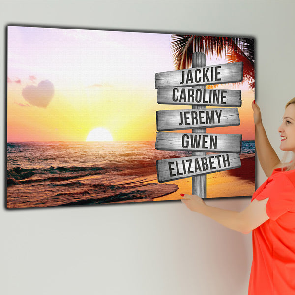 "Personalized Names ""Colorful Love Sunset Beach"" Premium Canvas Wall Art"