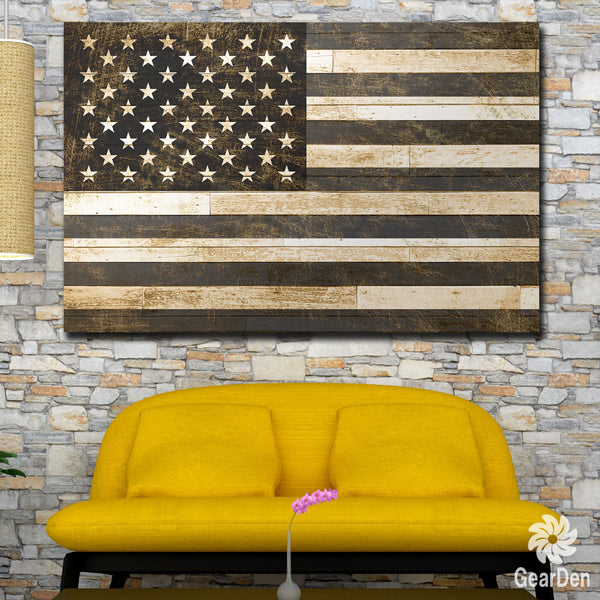 """Black And White American Flag"" Premium Canvas"