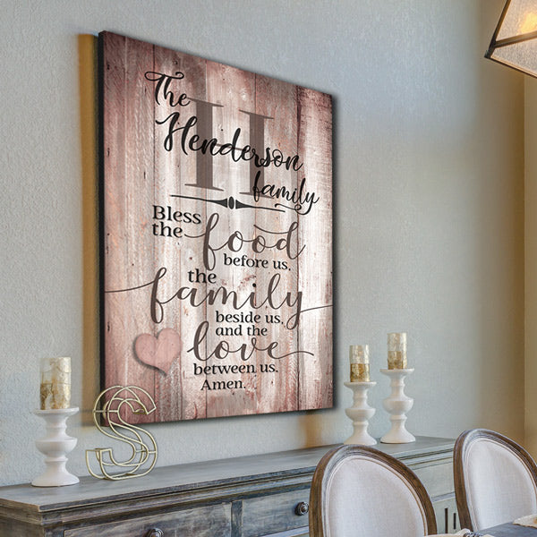 "Personalized ""Food, Family, Love"" Wood Colored Premium Canvas"
