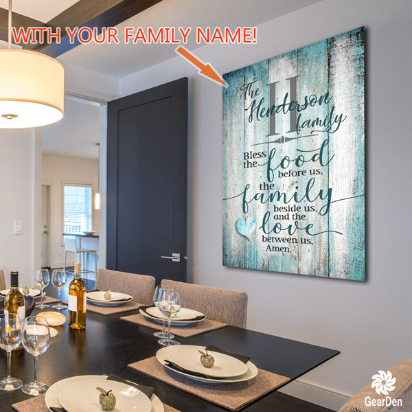 "Personalized ""Food, Family, Love"" Premium Canvas"