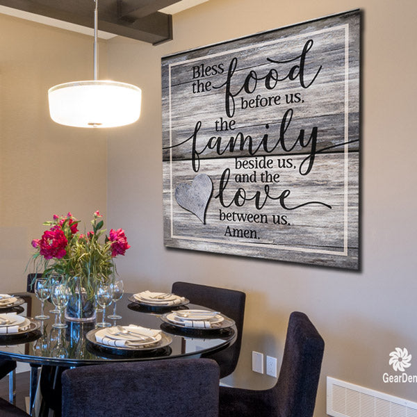 "Wall Art For Dining Room: Canvas Wall Art -""Bless The Food, Family, Love Amen"" Quote"