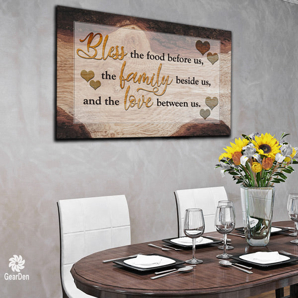 """Food, Family, Love"" Wood effect Canvas wall art large"