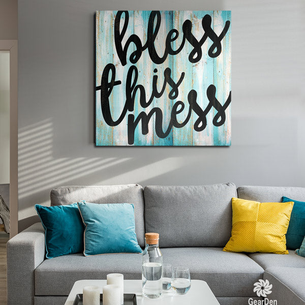 bless this mess living room canvas wall art