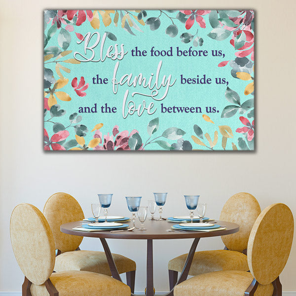 """Food, Family, Love"" Watercolor Premium Canvas"