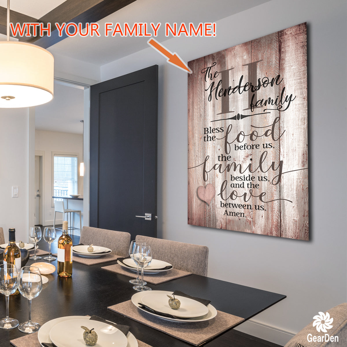 "Personalized Wood Colored ""Food, Family, Love"" Premium Canvas Canvas Wall Art"