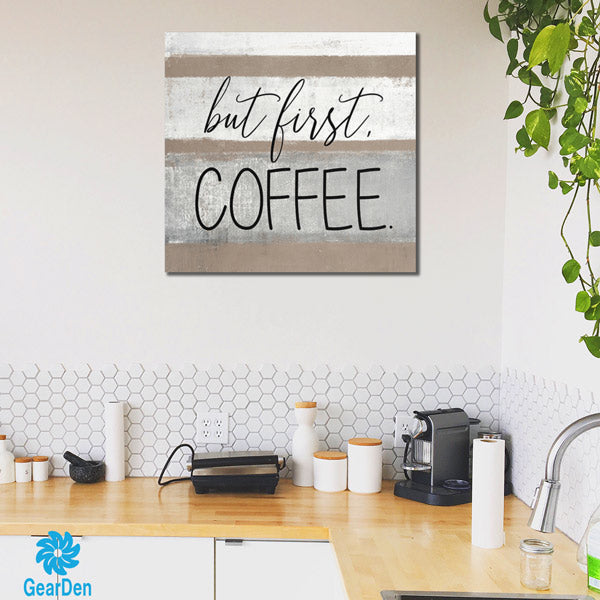 """But First, Coffee"" Canvas Wall Art"