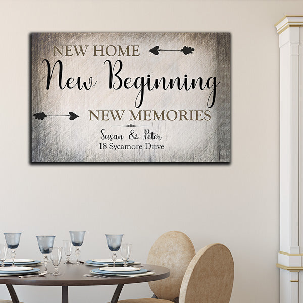 "Personalized ""New Home, New Beginning"" Premium Canvas"