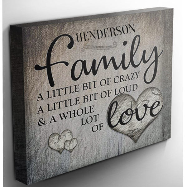 "Personalized ""Family.. Love"" Premium Canvas"