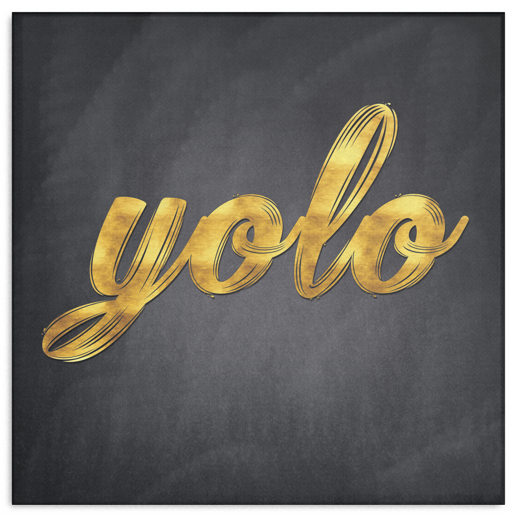 """Yolo"" Gold Typography Premium Canvas"