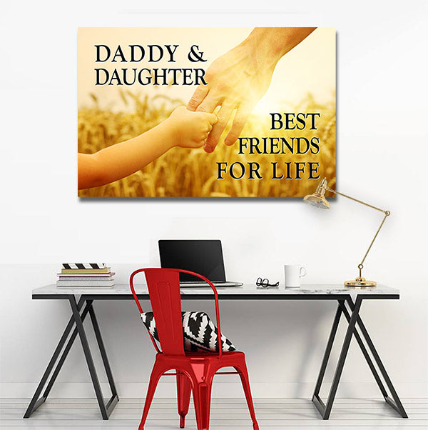 """Daddy And Daughter"" Sunset Premium Canvas"