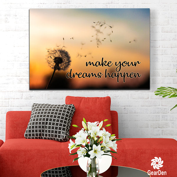 """Make Your Dreams Happen"" Dandelion Premium Canvas"