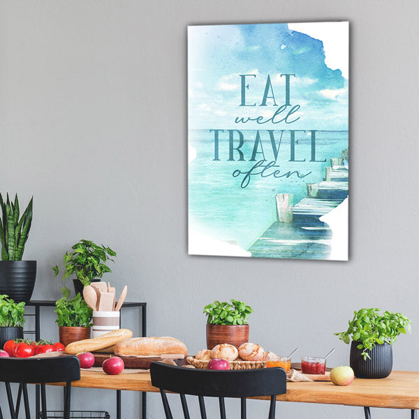 """Eat Well, Travel Often"" Premium Canvas Wall Art"
