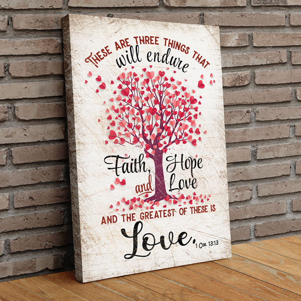 """The Greatest Is Love - Bible Verse"" Premium Canvas Wall Art"