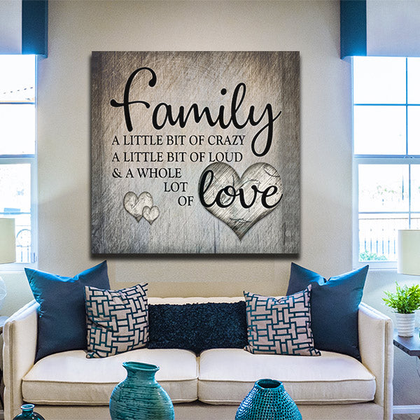 Family love premium square canvas gearden - Family room wall decor ideas ...