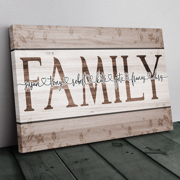 "Personalized ""Family Names- Joined by Love"" Premium Canvas"
