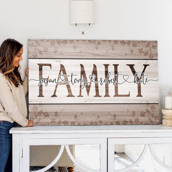 "Personalized ""Names Of Family"" Premium Canvas Wall Art"