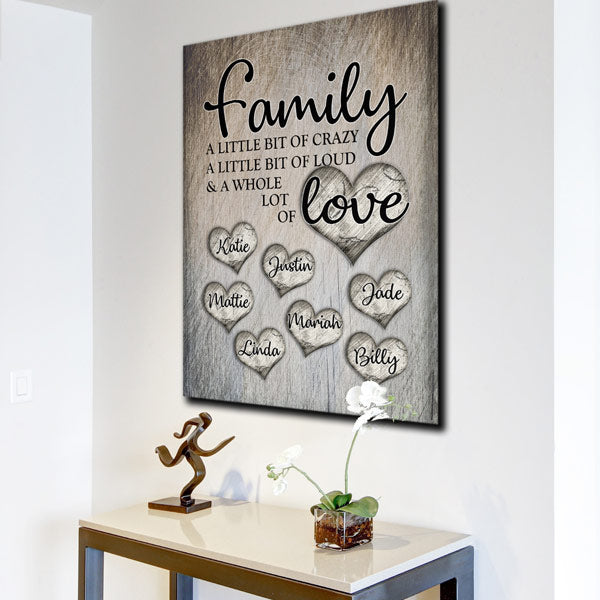 "Personalized ""Family Love"" Premium Canvas Wall Art"