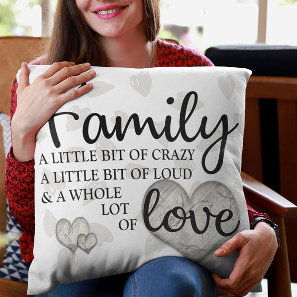 """Family - Whole Lot of Love"" Hearts Background Pillow"