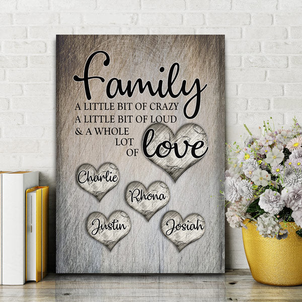 "Personalized ""Family... Love"" Premium Canvas"