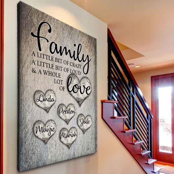 Personalized Family Crazy Loud Love Premium Canvas Wall Art Gearden