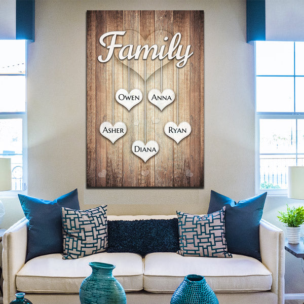 "Personalized ""Family - Names On Hanging Hearts"" Premium Canvas Wall Art"