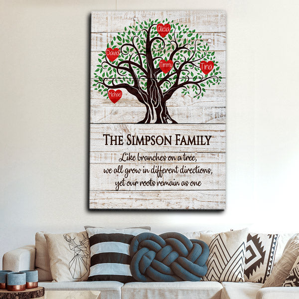"Personalized ""Family Tree - Roots As One"" Premium Canvas"