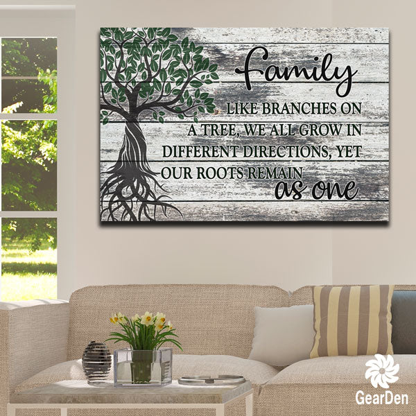 """Family Tree - Roots As One"" Premium Canvas wall sign"