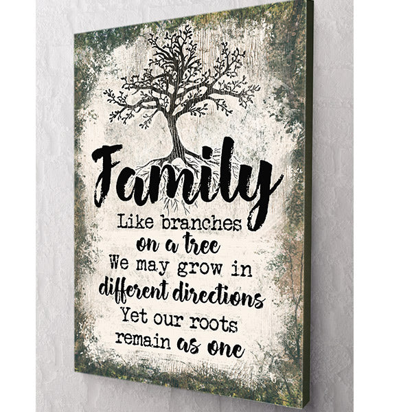 """Family - Like Branches On A Tree"" Premium Rustic Canvas Wall Art"