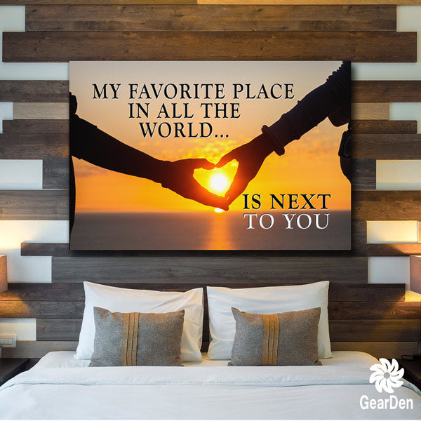 """My Favorite Place in the Whole World is Next to You"" sunset image with typography quote canvas"