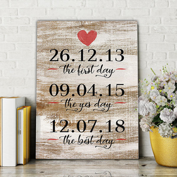 "Personalized ""The First, Yes, Best Day"" Premium Canvas"